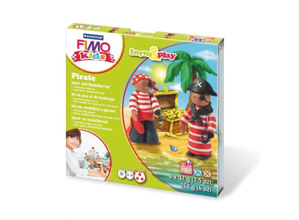 Набор FIMO Kids form&amp;play «Пират»Полимерная глина FIMO<br>Полимерная глина — удивительный материал для творчества и декоративно-прикладного искусства. Лепка из полимерной глины в равной степени увлекает детей и взрослых, вдохновляет мастеров и новичков. Этот вид творчества не требует профессиональной подготовки ...<br><br>Артикул: 8034_13_LZ<br>Вес: 42 г<br>Серия: FIMO Kids form&amp;play