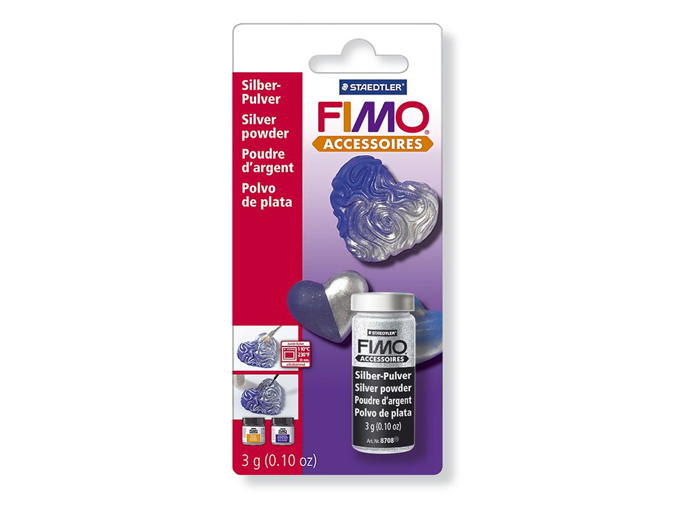 Серебряная пудра FIMOМатериалы для лепки<br><br><br>Артикул: 8708_BK<br>Вес: 3 гр<br>Цвет: Серебряный