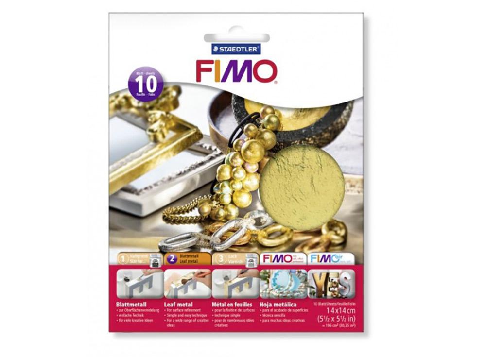 Золотая фольга FIMO, 10 листов 14x14Материалы для лепки<br><br><br>Артикул: 8781-11<br>Цвет: Золотой