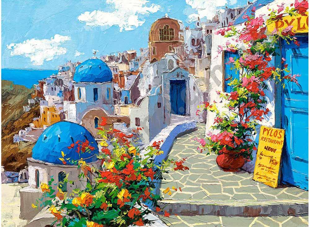 Пазлы «Весна в Санторини» Виктора ШвайкоПазлы от производителя Castorland<br>Пазл - игра-головоломка, мозаика, состоящая из множества фрагментов, различающихся по форме.<br> По мнению психологов, игра в пазлы способствует развитию логического мышления, внимания, воображения и памяти. Пазлы хороши для всех возрастов - и ребенка-дошко...<br>