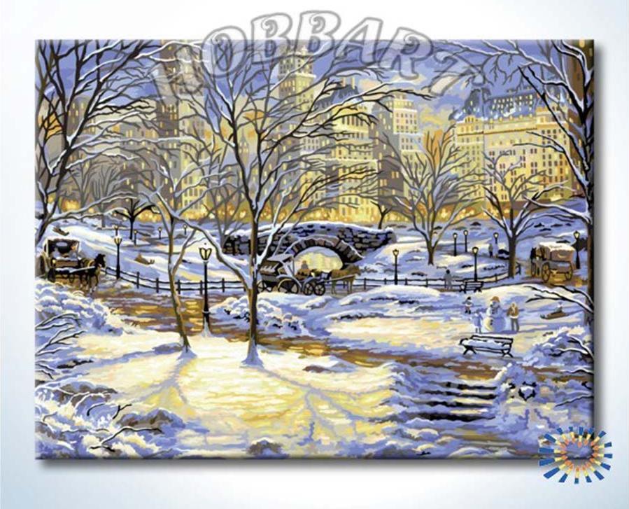 Картина по номерам «Зима в городе» Роберта ФайнэлаHobbart<br><br><br>Артикул: DH6080104<br>Основа: Холст<br>Сложность: сложные<br>Размер: 60x80 см<br>Количество цветов: 35<br>Техника рисования: Без смешивания красок