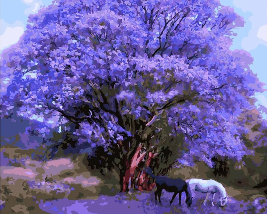 Картина по номерам «Под палисандровым деревом» Кэрол КаваларисЦветной (Standart)<br><br><br>Артикул: GX8784_Z<br>Основа: Холст<br>Сложность: сложные<br>Размер: 40x50 см<br>Количество цветов: 25<br>Техника рисования: Без смешивания красок