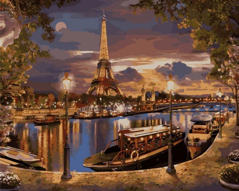 «Вечер в Париже»Цветной (Standart)<br><br><br>Артикул: GX8853_Z<br>Основа: Холст<br>Сложность: сложные<br>Размер: 40x50 см<br>Количество цветов: 30<br>Техника рисования: Без смешивания красок