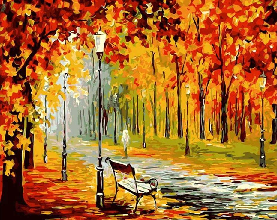 Картина по номерам «Осенний парк» Леонида АфремоваPaintboy (Premium)<br><br><br>Артикул: GX9325<br>Основа: Холст<br>Сложность: средние<br>Размер: 40x50 см<br>Количество цветов: 24<br>Техника рисования: Без смешивания красок