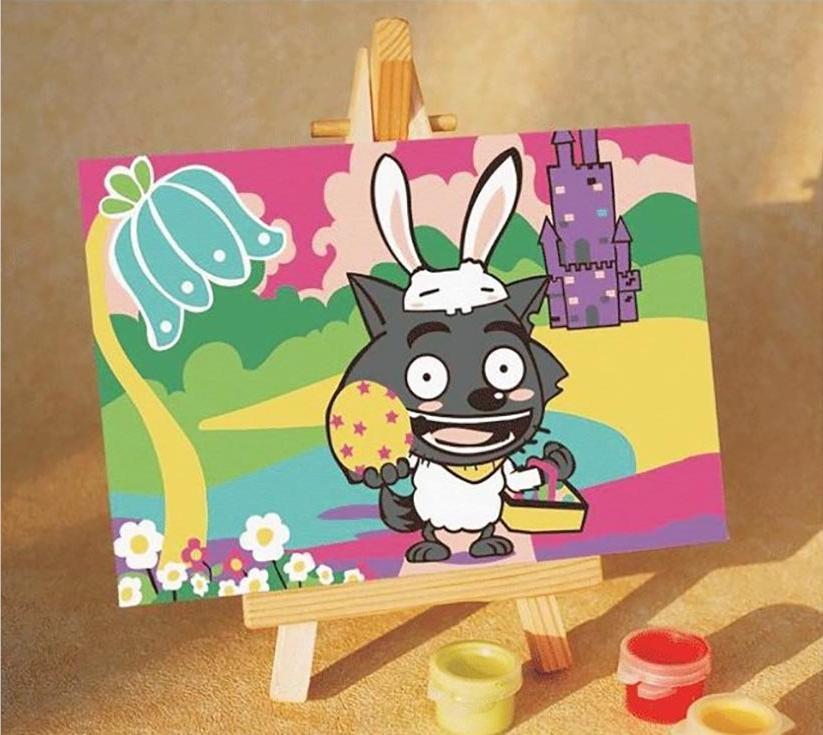 Картина по номерам «Волчонок»Цветной (Premium)<br><br><br>Артикул: MA003_Z<br>Основа: Картон<br>Сложность: очень легкие<br>Размер: 10x15 см<br>Количество цветов: 8-10<br>Техника рисования: Без смешивания красок