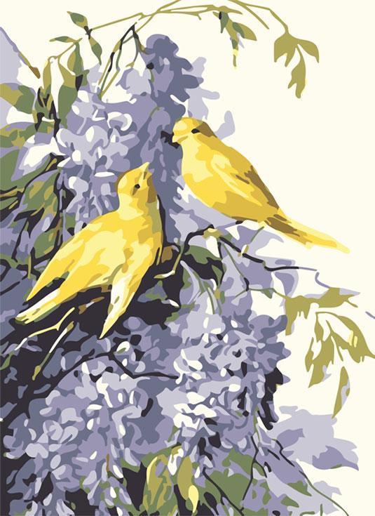 «Сирень и птицы»Цветной (Premium)<br><br><br>Артикул: MC1014_Z<br>Основа: Холст<br>Сложность: легкие<br>Размер: 20x30 см<br>Количество цветов: 25<br>Техника рисования: Без смешивания красок
