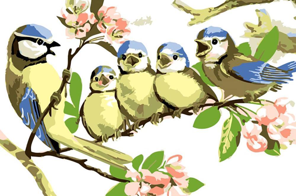 «Пойте, птички, пойте!» Марселя МарльераЦветной (Premium)<br><br><br>Артикул: MC1017_Z<br>Основа: Холст<br>Сложность: легкие<br>Размер: 20x30 см<br>Количество цветов: 25<br>Техника рисования: Без смешивания красок