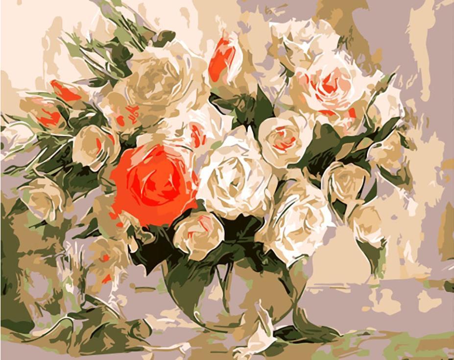 «Очаровательный букет роз» Айдемира СаидоваЦветной (Premium)<br><br><br>Артикул: ME1011_Z<br>Основа: Цветной холст<br>Сложность: средние<br>Размер: 30x40<br>Количество цветов: 25<br>Техника рисования: Без смешивания красок