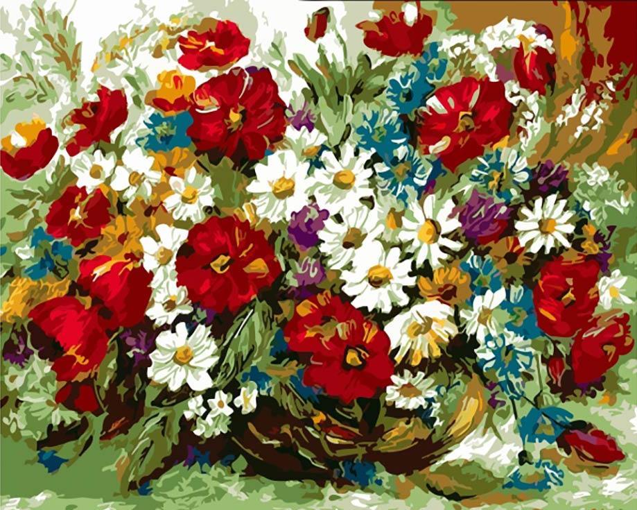 «Летний букет в вазе»Цветной (Premium)<br><br><br>Артикул: ME1013_Z<br>Основа: Цветной холст<br>Сложность: средние<br>Размер: 30x40 см<br>Количество цветов: 25<br>Техника рисования: Без смешивания красок
