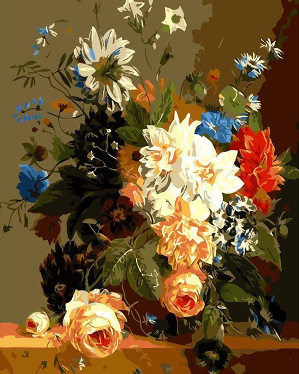 «Роскошные цветы»Цветной (Premium)<br><br><br>Артикул: ME1014_Z<br>Основа: Цветной холст<br>Сложность: средние<br>Размер: 30x40<br>Количество цветов: 25<br>Техника рисования: Без смешивания красок