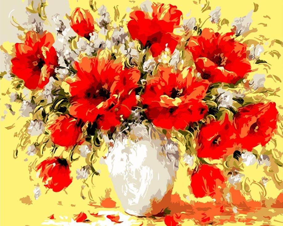 Картина по номерам «Букет маков» Антонио ДжанильяттиЦветной (Standart)<br><br><br>Артикул: GX8877_Z<br>Основа: Холст<br>Сложность: средние<br>Размер: 40x50 см<br>Количество цветов: 25<br>Техника рисования: Без смешивания красок