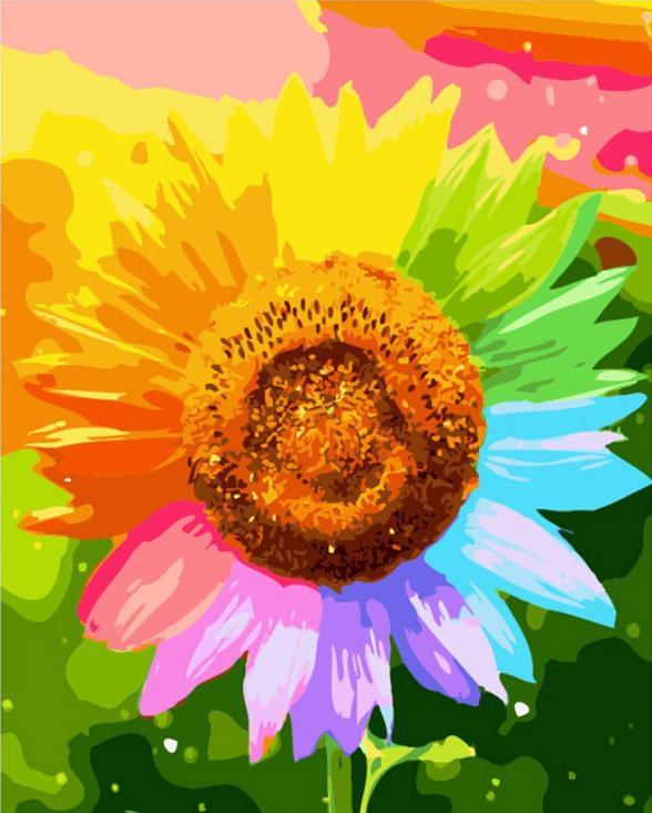 «Радужный подсолнух»Цветной (Premium)<br><br><br>Артикул: MG632_Z<br>Основа: Холст<br>Сложность: сложные<br>Размер: 40x50<br>Количество цветов: 28<br>Техника рисования: Без смешивания красок