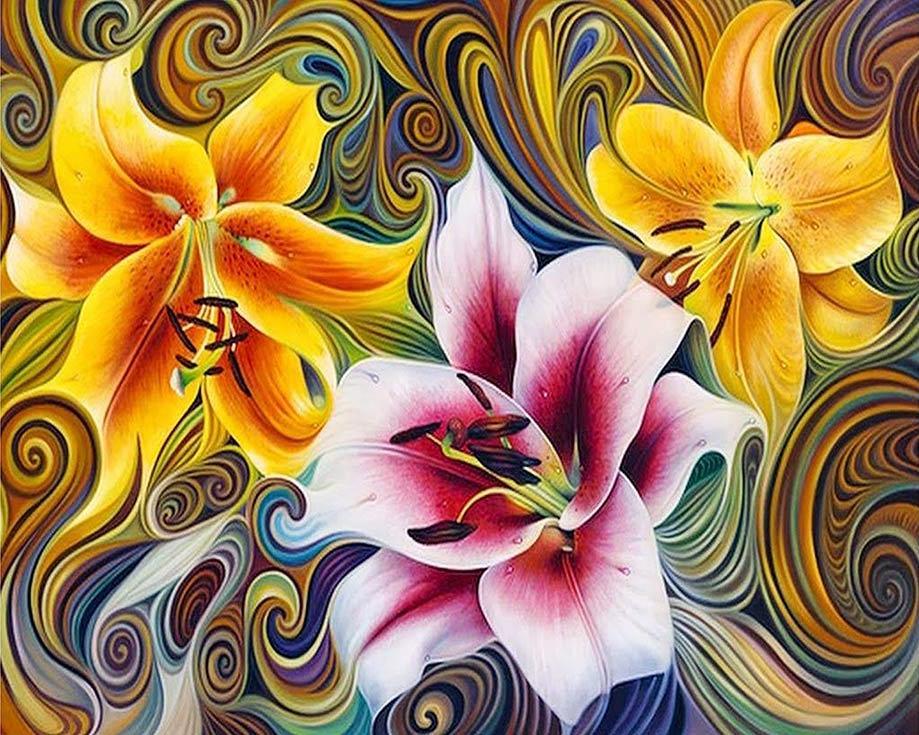 Алмазная вышивка «Три лилии» Рикардо Чавеса МендесаАлмазная Живопись<br>Картины стразами бренда «Алмазная Живопись» это:<br><br>четко пропечатанная символьная схема;<br>качественный клеевой слой по всей поверхности холста;<br>большая палитра акриловых страз с 9 гранями, которые, отражая свет, создают эффект объемного изображения.<br>...<br><br>Артикул: АЖ-1394<br>Основа: Холст без подрамника<br>Сложность: сложные<br>Размер: 40x50 см<br>Выкладка: Полная<br>Количество цветов: 40<br>Тип страз: Квадратные