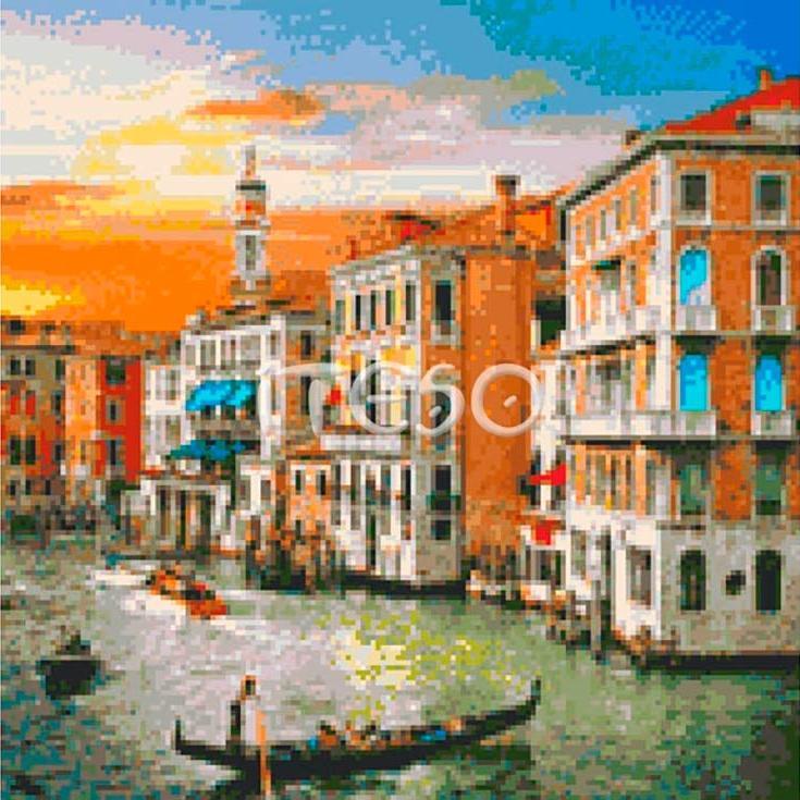 Стразы «Венецианский рассвет»Iteso<br><br><br>Артикул: АМ130-4040<br>Основа: Холст без подрамника<br>Сложность: сложные<br>Размер: 40x40 см<br>Выкладка: Полная<br>Количество цветов: 43<br>Тип страз: Квадратные