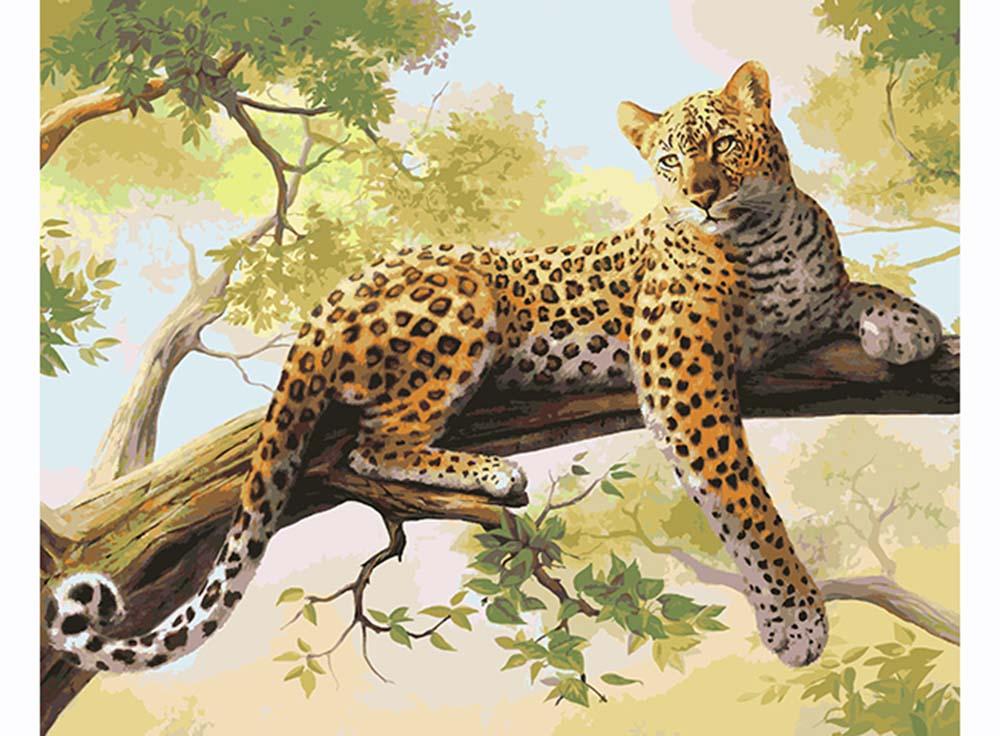 Картина по номерам «Леопард»Артвентура<br><br><br>Артикул: 02ART40500122<br>Основа: Холст<br>Сложность: очень сложные<br>Размер: 40x50 см<br>Количество цветов: 27<br>Техника рисования: Без смешивания красок