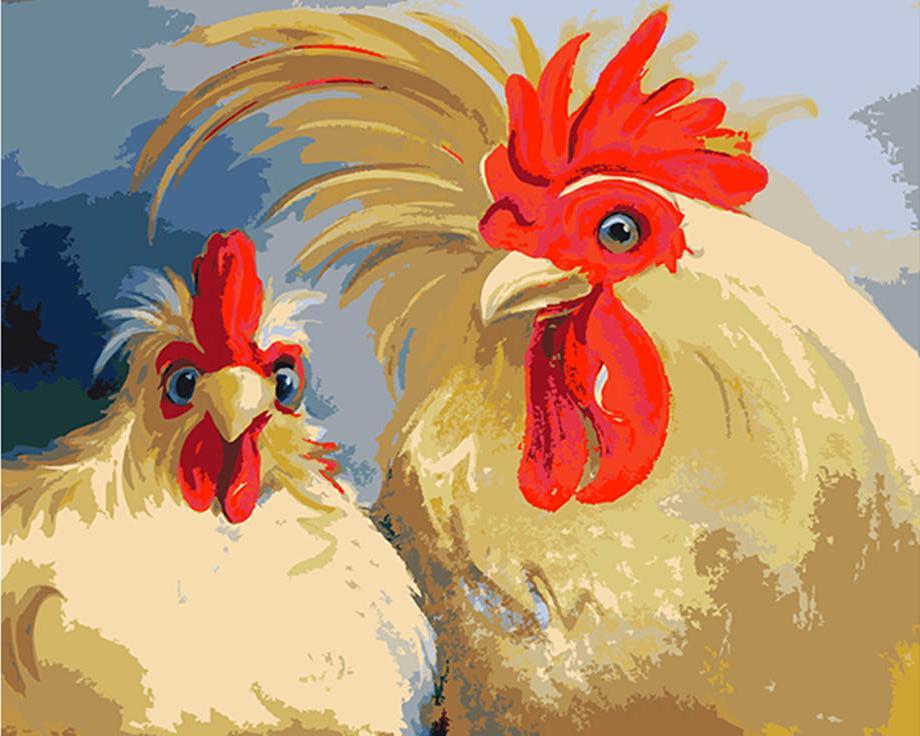 Картина по номерам «Кочет и курица» Эми ХаутманАртвентура<br><br><br>Артикул: 02ART40500126<br>Основа: Холст<br>Сложность: сложные<br>Размер: 40x50 см<br>Количество цветов: 23<br>Техника рисования: Без смешивания красок