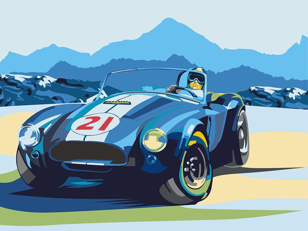 Картина по номерам «Ретро-автомобиль Cobra»Раскраски по номерам<br>Артвентура - это всегда идеальное качество, и новая серия только подтверждает тот факт, что этому производителю можно доверять. Серьезная проработка всех деталей, отсутствие невнятных элементов и непонятных контуров, прекрасно подобранные краски - это о к...<br>