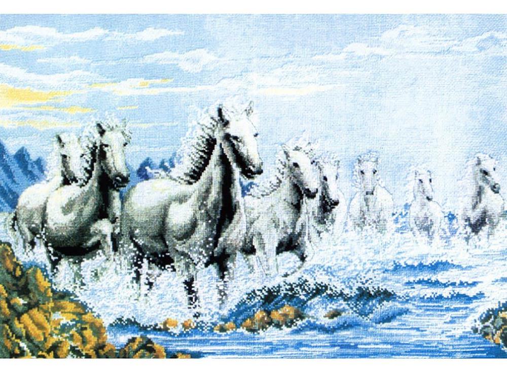 Набор для вышивания «Табун лошадей»Белоснежка<br><br><br>Артикул: 1015-14<br>Основа: канва Aida 14<br>Размер: 63x44 см<br>Техника вышивки: счетный крест<br>Тип схемы вышивки: Цветная схема<br>Количество крестиков: 200x300<br>Цвет канвы: Белый<br>Размер вышитой работы: 36,5x55 см<br>Количество цветов: 24<br>Рисунок на канве: не нанесён<br>Техника: Вышивка крестом