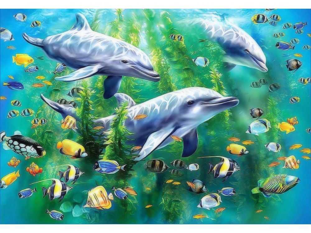 Пазлы «Три дельфина»Ravensburger<br>Пазл - игра-головоломка, мозаика, состоящая из множества фрагментов, различающихся по форме.<br> По мнению психологов, игра в пазлы способствует развитию логического мышления, внимания, воображения и памяти. Пазлы хороши для всех возрастов - и ребенка-дошко...<br><br>Артикул: 10605<br>Размер: 49x36 см