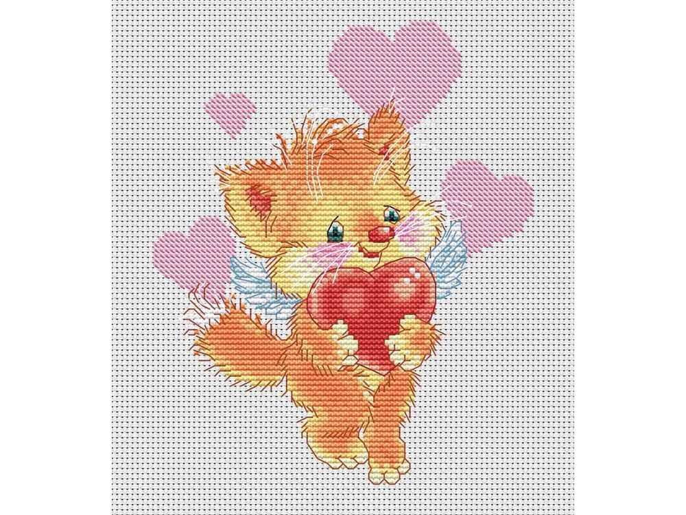 Набор для вышивания «Котёнок с сердечком» Александра ПлешкоБелоснежка<br><br><br>Артикул: 149-14<br>Основа: канва Aida 14<br>Размер: 20x22 см<br>Техника вышивки: счетный крест<br>Тип схемы вышивки: Цветная схема<br>Количество крестиков: 74x91<br>Цвет канвы: Белый<br>Размер вышитой работы: 13,5x16,5<br>Количество цветов: 17<br>Рисунок на канве: не нанесён<br>Техника: Вышивка крестом