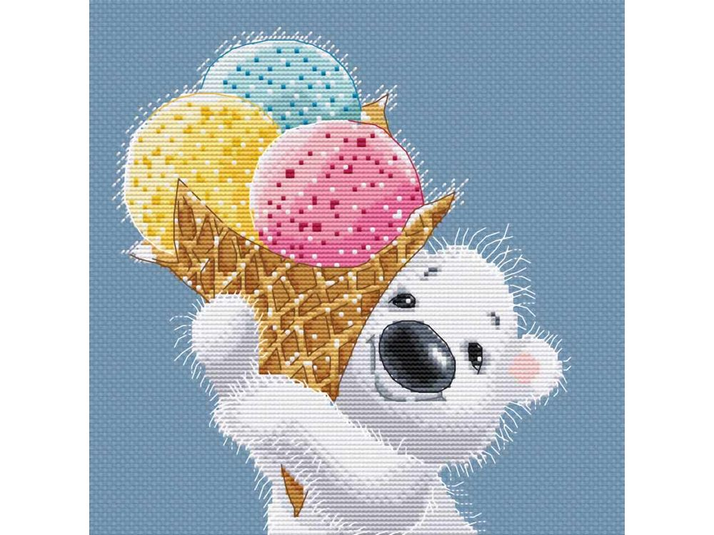 Набор для вышивания «Медвежонок с мороженым» Льва БартеневаБелоснежка<br><br><br>Артикул: 162-14<br>Основа: канва Aida 14<br>Размер: 25x27 см<br>Техника вышивки: счетный крест<br>Тип схемы вышивки: Цветная схема<br>Количество крестиков: 103x114<br>Цвет канвы: Голубой<br>Размер вышитой работы: 18,5x20,5<br>Количество цветов: 23<br>Рисунок на канве: не нанесён<br>Техника: Вышивка крестом