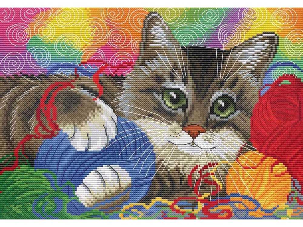 Набор для вышивания «Котик с клубочками» Ирины ГармашовойБелоснежка<br><br><br>Артикул: 168-14<br>Основа: канва Aida 14<br>Размер: 33x25 см<br>Техника вышивки: счетный крест<br>Тип схемы вышивки: Цветная схема<br>Количество крестиков: 150x105<br>Цвет канвы: Белый<br>Размер вышитой работы: 19x27<br>Количество цветов: 40<br>Рисунок на канве: не нанесён<br>Техника: Вышивка крестом