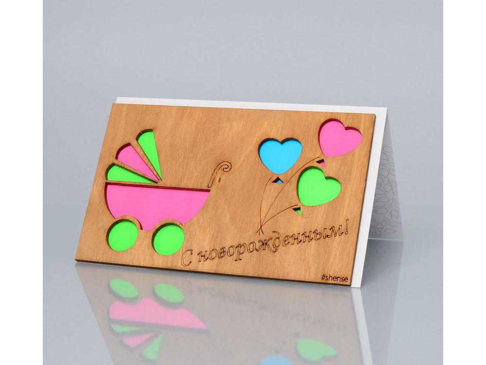 Открытка «С новорожденным! (Коляска и шарики)»Деревянные открытки<br>Деревянные открытки и денежные конверты - прекрасная возможность сделать яркий подарок для тех, кто ценит оригинальность, однако не забывает о традициях. И креативность такого презента заключена не только в необычной деревянной первой странице, ведь в...<br><br>Артикул: 172<br>Размер: 160 х 106 мм<br>Материал: Дерево, бумага