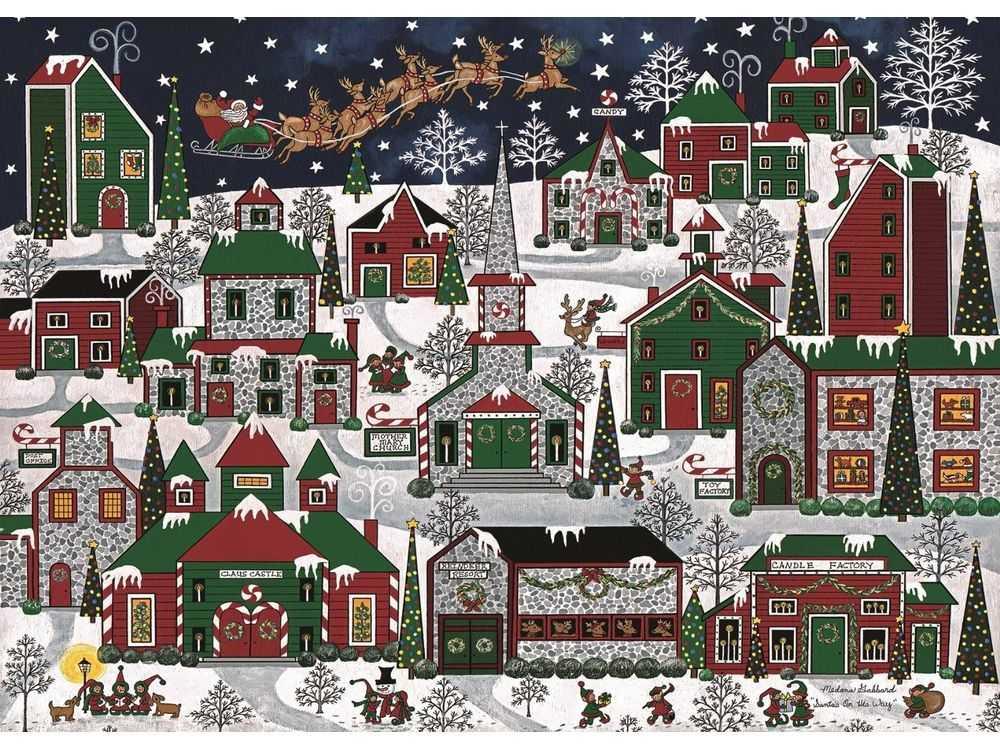 Пазлы «Рождественский город»Ravensburger<br>Пазл - игра-головоломка, мозаика, состоящая из множества фрагментов, различающихся по форме.<br> По мнению психологов, игра в пазлы способствует развитию логического мышления, внимания, воображения и памяти. Пазлы хороши для всех возрастов - и ребенка-дошко...<br><br>Артикул: 19444<br>Размер: 70x50 см