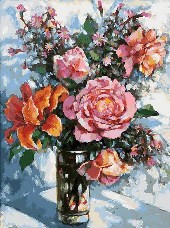 «Натюрморт с розами» Елены КалашниковойКартины по номерам Белоснежка<br><br><br>Артикул: 3021-CS<br>Основа: Картон<br>Сложность: очень сложные<br>Размер: 30x40<br>Количество цветов: 34<br>Техника рисования: Без смешивания красок
