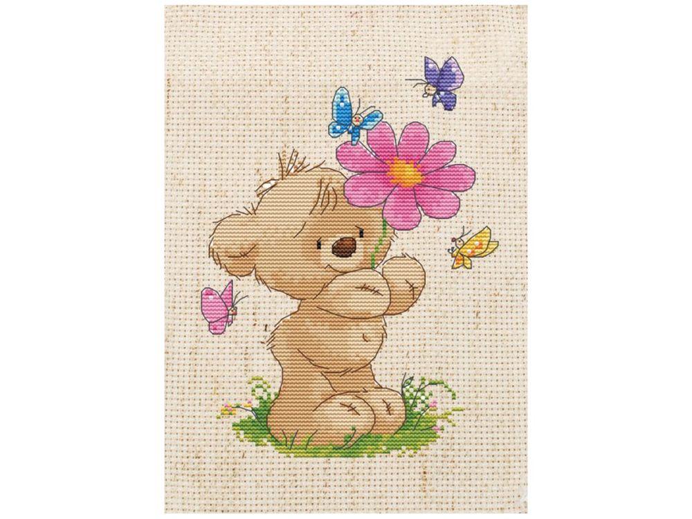 Набор для вышивания «Мишка с цветком»Белоснежка<br><br><br>Артикул: 303-EF<br>Основа: льняная<br>Размер: 27x20<br>Техника вышивки: счетный крест<br>Тип схемы вышивки: Цветная схема<br>Техника: Вышивка крестом