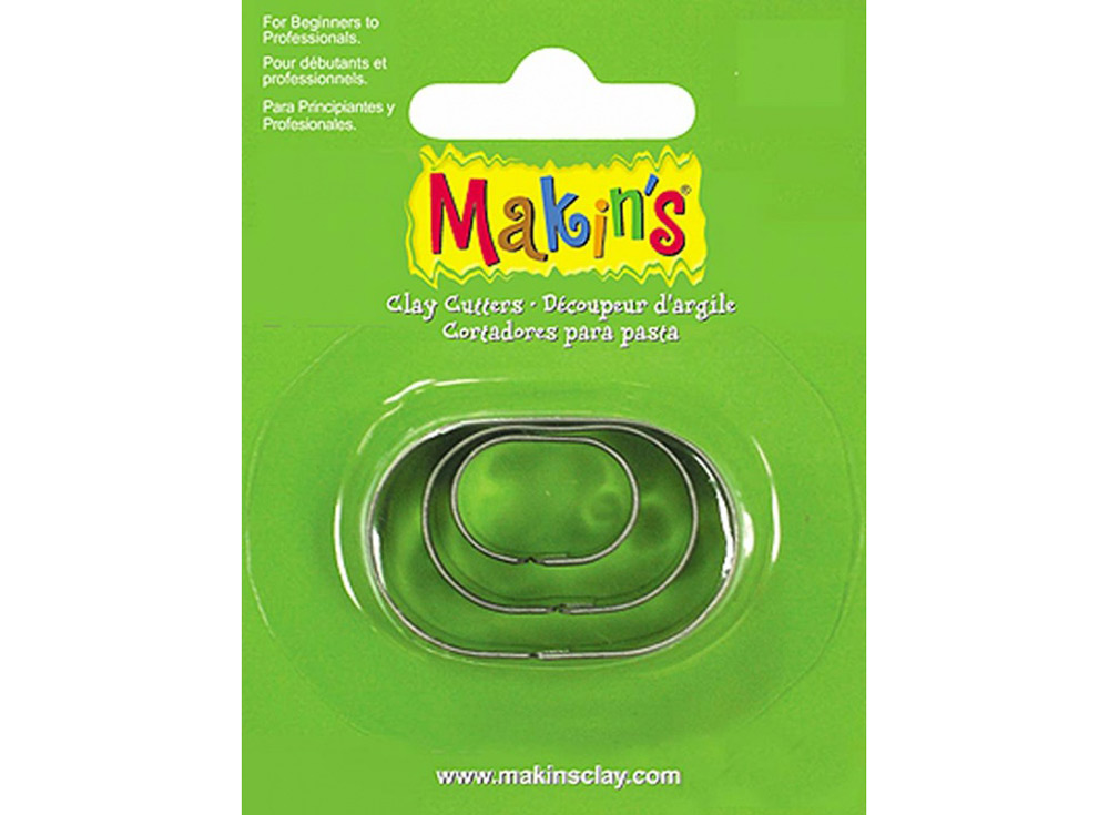 Набор каттеров Makin's «Овал»Инструменты для лепки<br><br><br>Артикул: 36005<br>Размер: 40x30, 30x20, 18x13 мм