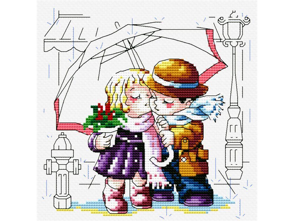 Набор для вышивания «Романтика под зонтиком»Белоснежка<br><br><br>Артикул: 361-14<br>Основа: канва Aida 14<br>Размер: 30x30 см<br>Техника вышивки: счетный крест<br>Тип схемы вышивки: Цветная схема<br>Количество крестиков: 86x86<br>Цвет канвы: Белый<br>Размер вышитой работы: 16x16<br>Количество цветов: 21<br>Рисунок на канве: не нанесён<br>Техника: Вышивка крестом
