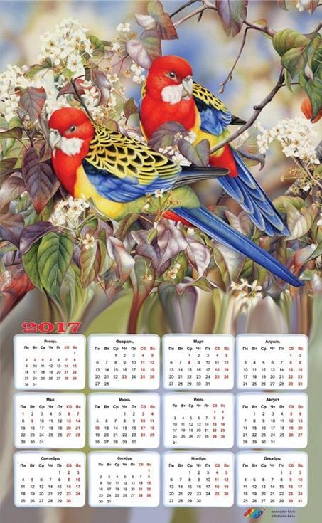 Картина-календарь стразами «Райские птички»Алмазная вышивка Color Kit (Колор Кит)<br><br><br>Артикул: 404007K<br>Основа: Холст без подрамника<br>Сложность: средние<br>Размер: 40x65 см<br>Выкладка: Частичная<br>Количество цветов: 33<br>Тип страз: Круглые непрозрачные (акриловые)