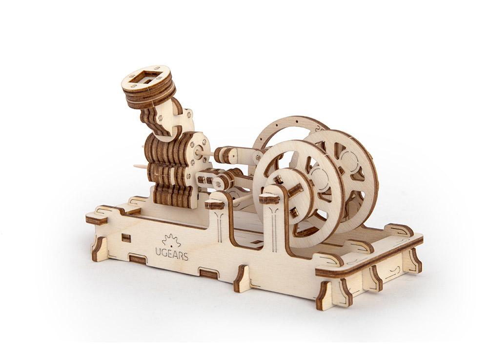 3D-пазл Ugears «Пневматический двигатель»Ugears<br>Модель «Пневматический двигатель» - это небольшой, но точный аналог паровой машины. Как у настоящего мотора, у него есть тахометр. Чтобы мотор заработал, необходимо подуть в специальный раструб или же запустить двигатель с помощью обычного воздушного шари...<br><br>Артикул: 70009<br>Размер: 16x8x10 см<br>Расчетное время сборки: 2-3 часа<br>Материал: Дерево<br>Размер упаковки: 37x13x3 см<br>Возраст: от 14 лет