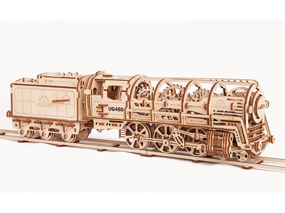 3D-пазл Ugears «Локомотив с тендером»Ugears<br>3D-пазл «Локомотив с тендером» считается флагманом компании, в нем нашли воплощение все лучшие конструкторские изобретения инженеров Ugears. <br> При покупке этого конструктора Вы получаете:<br> • модель локомотива XIX века, грузового тендера, длинны...<br><br>Артикул: 70012<br>Размер: 47x10x12 см<br>Расчетное время сборки: 10-12 часов<br>Материал: Дерево<br>Размер упаковки: 37x17x4 см<br>Возраст: от 14 лет