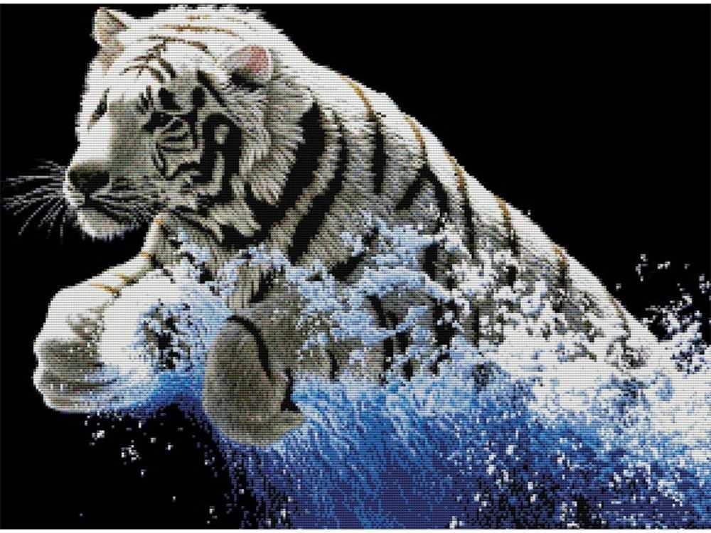 Набор для вышивания «Белый тигр»Белоснежка<br><br><br>Артикул: 7071-3D<br>Основа: канва Aida 11<br>Размер: 68x52 см<br>Техника вышивки: несчетный крест<br>Тип схемы вышивки: Цветная схема<br>Рисунок на канве: нанесён рисунок и схема<br>Техника: Вышивка крестом