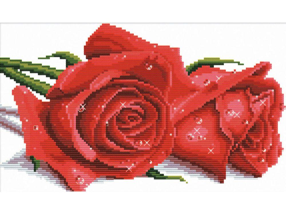 Набор для вышивания «Красные розы»Белоснежка<br><br><br>Артикул: 7530-РК<br>Основа: канва Aida 11<br>Размер: 41x27 см<br>Техника вышивки: несчетный крест<br>Тип схемы вышивки: Цветная схема<br>Количество крестиков: 146x86<br>Количество цветов: 14<br>Рисунок на канве: нанесён водорастворимый рисунок<br>Техника: Вышивка крестом