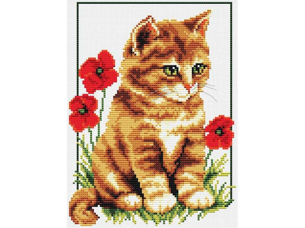 Набор для вышивания «Котенок в цветах»Белоснежка<br><br><br>Артикул: 855-14<br>Основа: канва Aida 14<br>Размер: 25,8x31 см<br>Техника вышивки: счетный крест<br>Тип схемы вышивки: Цветная схема<br>Количество крестиков: 100x118<br>Цвет канвы: Белый<br>Размер вышитой работы: 18x21,5<br>Количество цветов: 14<br>Рисунок на канве: не нанесён<br>Техника: Вышивка крестом