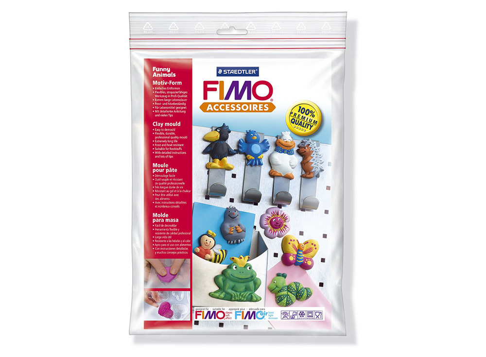 Формы FIMO «Забавные животные»Инструменты для лепки<br><br><br>Артикул: 8742 09<br>Размер: 16x24 см<br>Количество: 10 форм