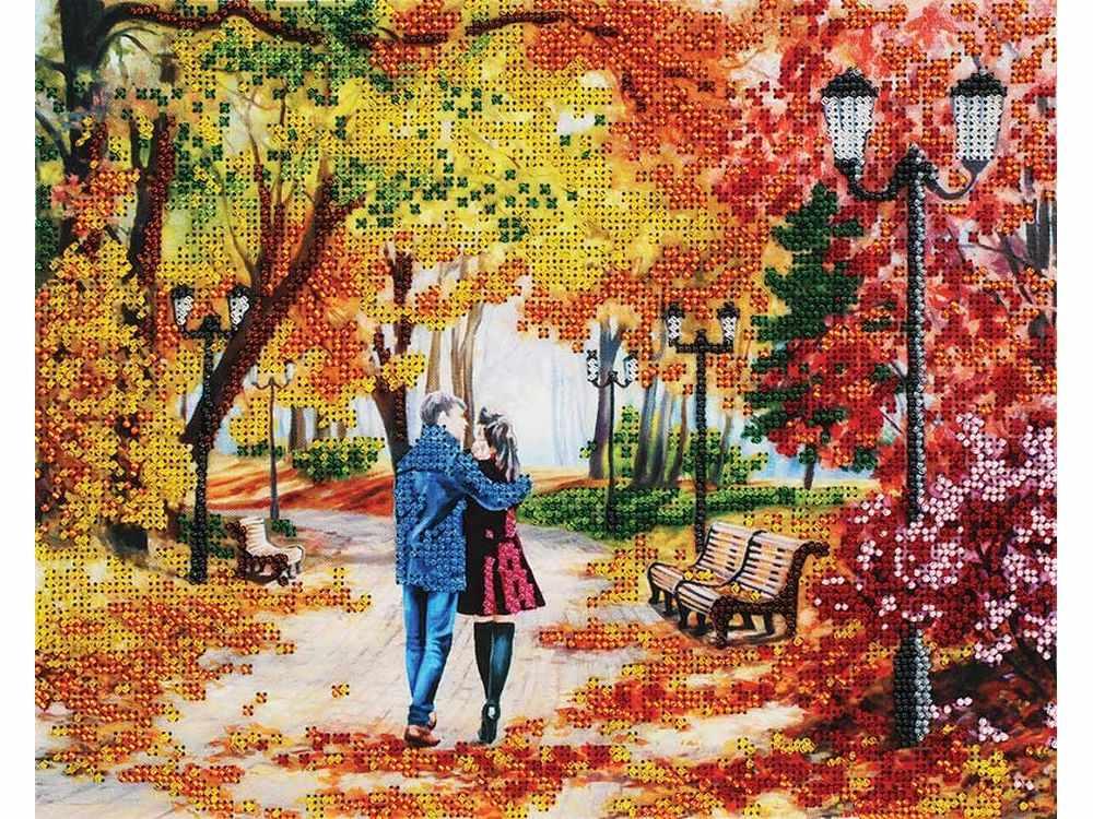 Набор вышивки бисером «Осенний парк, скамейка, двое» Елены СамарскойБелоснежка<br><br><br>Артикул: 9042-CM<br>Основа: канва<br>Сложность: средние<br>Размер: 24x30 см<br>Техника вышивки: бисер<br>Тип схемы вышивки: Цветная схема<br>Количество цветов: 13<br>Заполнение: Частичное<br>Рисунок на канве: нанесён рисунок и схема<br>Техника: Вышивка бисером