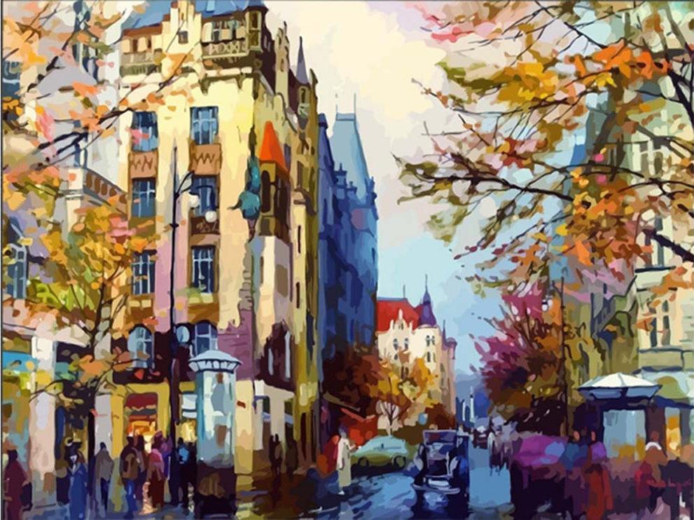 Картина по номерам «Осенняя Европа»Раскраски по номерам Color Kit<br><br><br>Артикул: CG434<br>Основа: Холст<br>Сложность: средние<br>Размер: 40x50 см<br>Количество цветов: 24<br>Техника рисования: Без смешивания красок