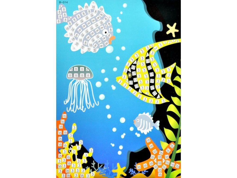 Мозаика из стикеров «Подводный мир»Мозаика из стикеров<br><br><br>Артикул: B014<br>Основа: Картон<br>Размер: 16,5x23,5 см<br>Возраст: от 3 лет