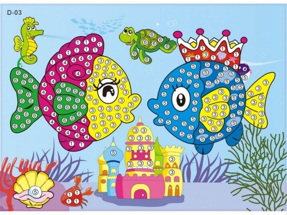 Мозаика из стикеров «Рыбки»Мозаика из стикеров<br><br><br>Артикул: D003<br>Основа: Картон<br>Размер: 16,5x23,5 см<br>Возраст: от 3 лет