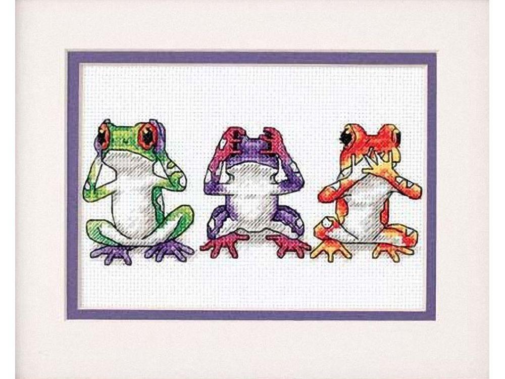 Набор для вышивания «Трио древесных лягушек»Dimensions<br><br><br>Артикул: DMS-16758<br>Основа: канва Aida 14<br>Сложность: сложные<br>Размер: 13x18 см<br>Техника вышивки: счетный крест<br>Тип схемы вышивки: 3-х цветная схема<br>Цвет канвы: Белый<br>Заполнение: Частичное<br>Рисунок на канве: не нанесён<br>Техника: Вышивка крестом