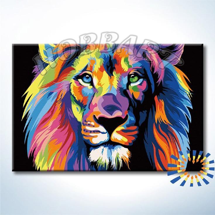 Картина по номерам «Радужный лев» Ваю РомдониHobbart<br><br><br>Артикул: DZ2030005-Lite<br>Основа: Цветной холст<br>Сложность: средние<br>Размер: 20x30 см<br>Художник: Ваю Ромдони<br>Количество цветов: 17<br>Техника рисования: Без смешивания красок
