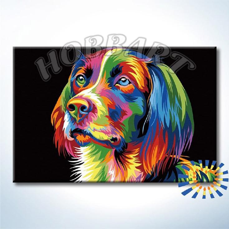 Картина по номерам «Радужный пёс» Ваю РомдониHobbart<br><br><br>Артикул: DZ2030006-Lite<br>Основа: Цветной холст<br>Сложность: средние<br>Размер: 20x30 см<br>Художник: Ваю Ромдони<br>Количество цветов: 16<br>Техника рисования: Без смешивания красок