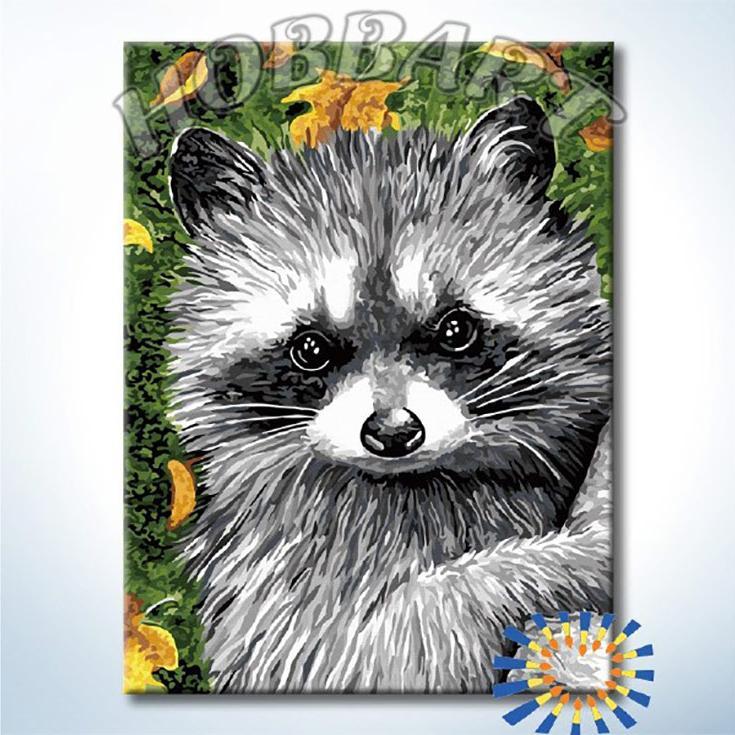 Картина по номерам «Енот»Hobbart<br><br><br>Артикул: DZ3040004<br>Основа: Холст<br>Сложность: средние<br>Размер: 30x40 см<br>Количество цветов: 23<br>Техника рисования: Без смешивания красок