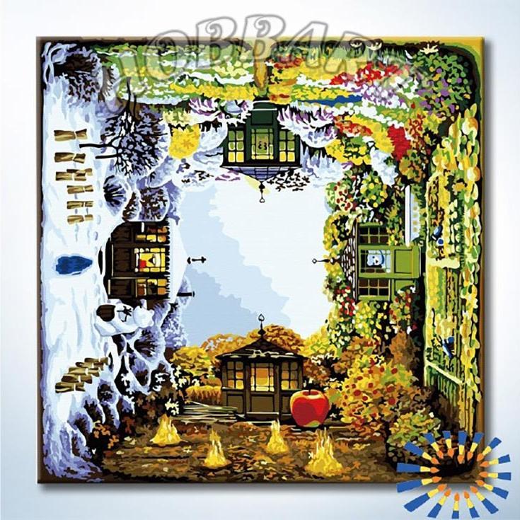 Картина по номерам «Времена года» Яцека ЙеркиHobbart<br><br><br>Артикул: DZ4040006<br>Основа: Холст<br>Сложность: сложные<br>Размер: 40x40 см<br>Количество цветов: 26<br>Техника рисования: Без смешивания красок