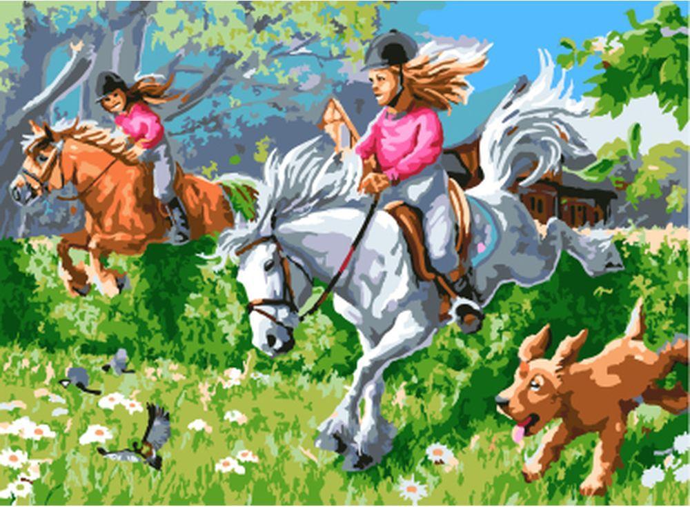 «На лошадях»Цветной (Standart)<br><br><br>Артикул: EX5234_Z<br>Основа: Холст<br>Сложность: сложные<br>Размер: 30x40 см<br>Количество цветов: 25<br>Техника рисования: Без смешивания красок