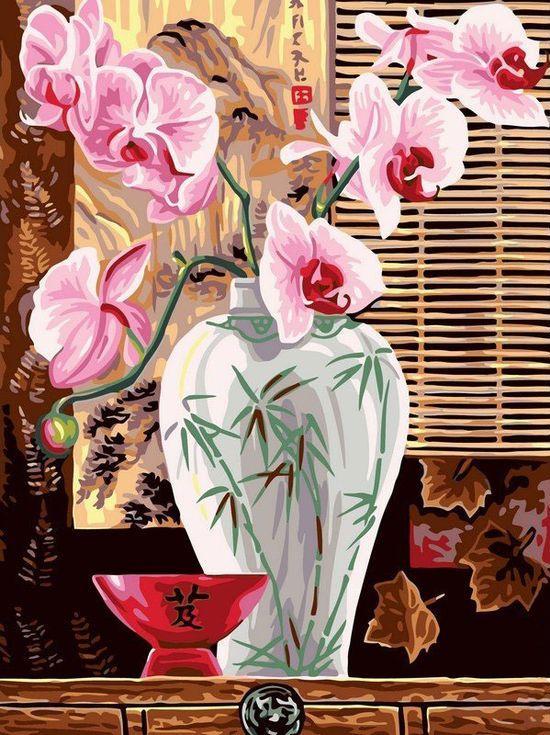 «Восточные орхидеи»Цветной (Standart)<br><br><br>Артикул: EX5260_Z<br>Основа: Холст<br>Сложность: сложные<br>Размер: 30x40 см<br>Количество цветов: 25<br>Техника рисования: Без смешивания красок